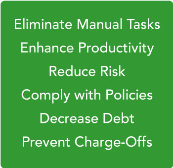 Debt collection management system benefits graphic.