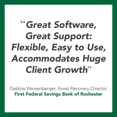 Debt collection software for banks quote from FFSB of Rochester.